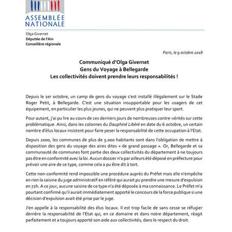 Gens du voyage à Bellegarde : les collectivités doivent prendre leurs responsabilités !