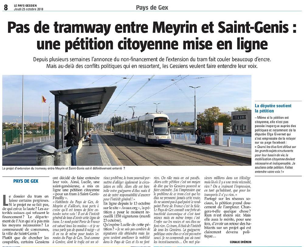 Article tramway entre Meyrin et Saint-Genis