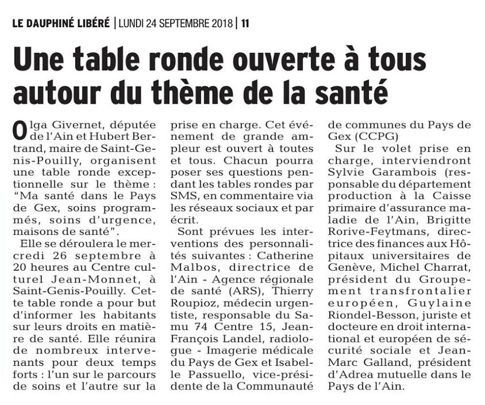 Article Dauphiné libéré - table ronde Ma santé