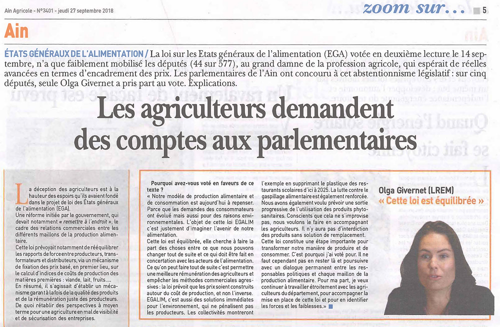 Article Ain Agricole EGALIM