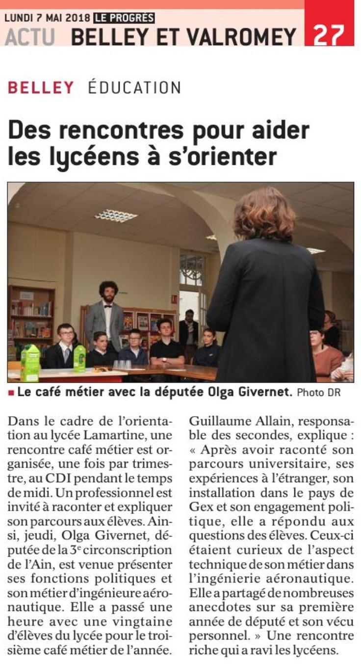 article Le Progrès Des rencontres pour aider les lycéens à s'orienter Olga Givernet
