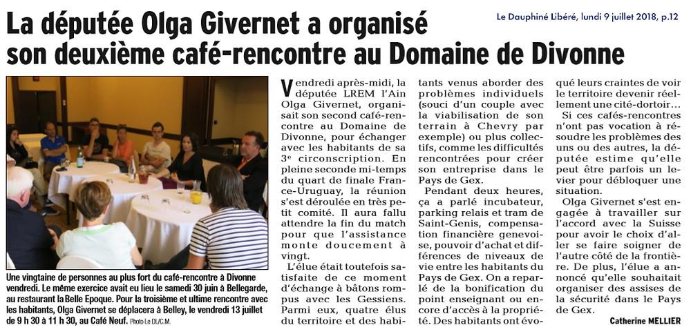 Article Dauphiné libéré - 2e café-rencontre d'Olga Givernet à Divonne
