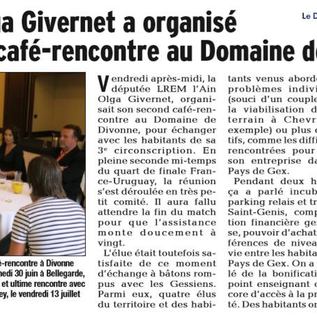 Le Dauphiné libéré : la députée Olga Givernet a organisé son 2e café-rencontre
