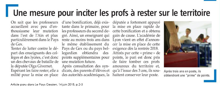 article PG - Olga Givernet - Mesure pour inciter les profs à rester sur le territoire