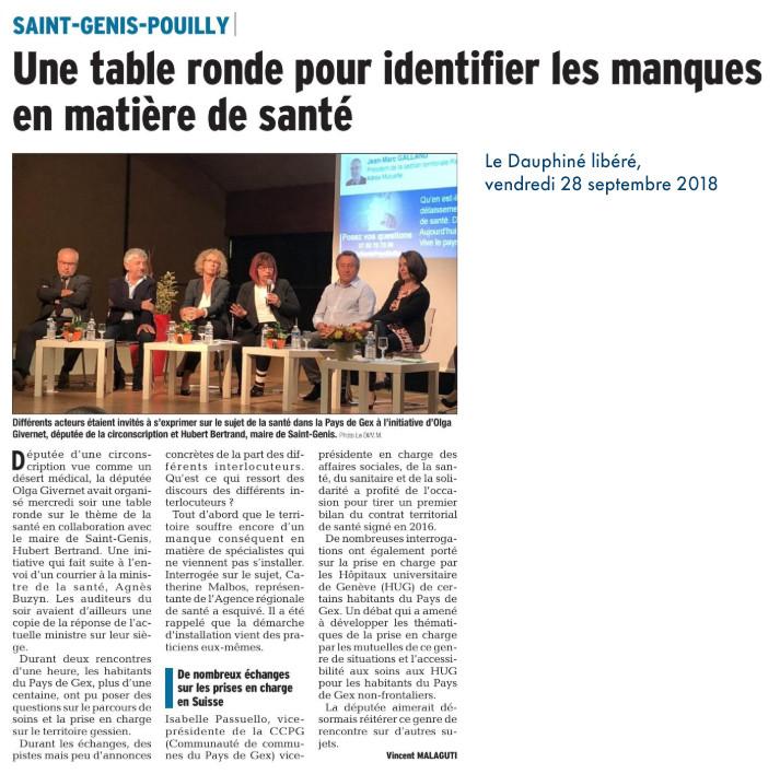 Article Le Dauphiné - retour table ronde