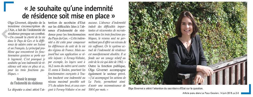 article PG Olga Givernet Indemnité de résidence
