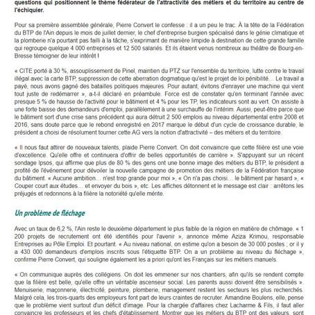 Journal du BTP : BTP-Ain vante l'attractivité du territoire et des métiers