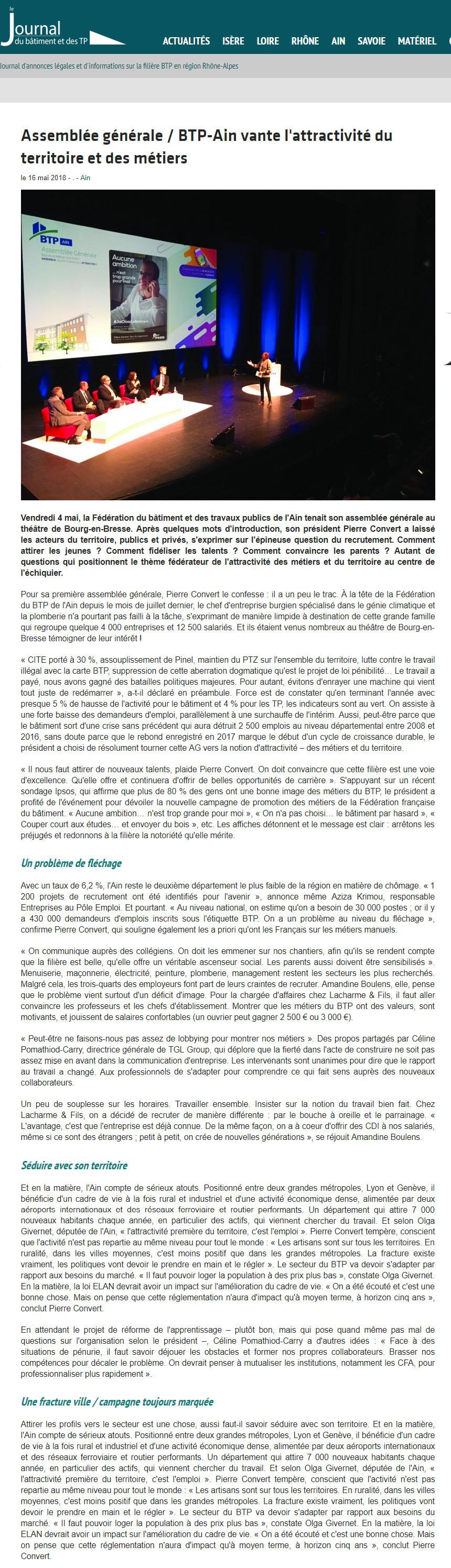Journal du BTP - BTP-Ain vante l'attractivité du territoire