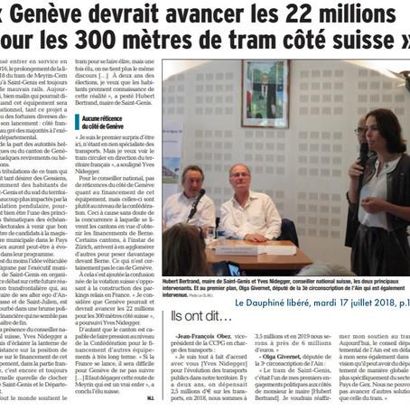 Le Dauphiné libéré : Genève devrait avancer les 22 millions pour les 300 mètres de tram côté suisse