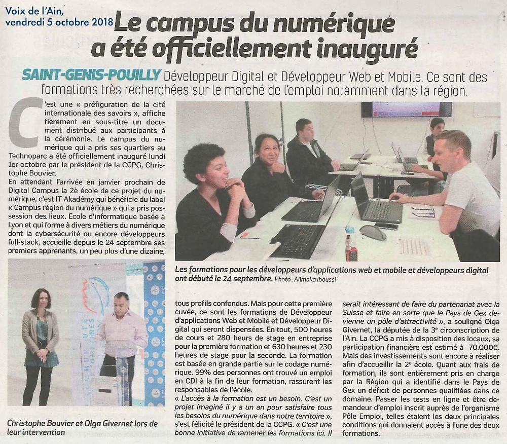 Voix de l'Ain - Campus du numérique