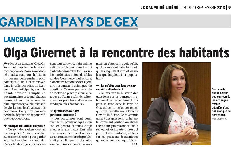 Article Dauphiné libéré - Atelier citoyen de Lancrans