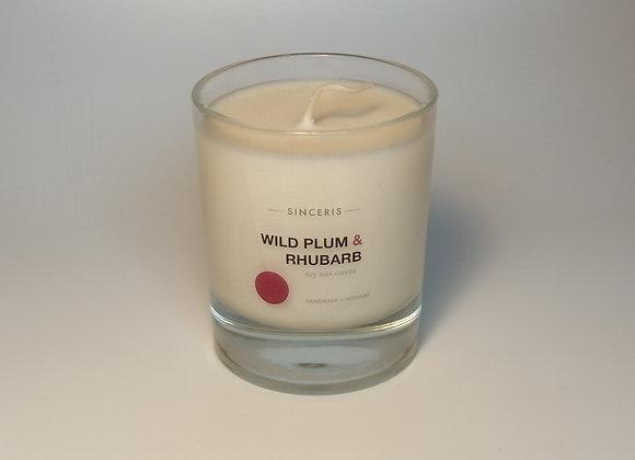 Wild Plum & Rhubarb Soy Glass Candle