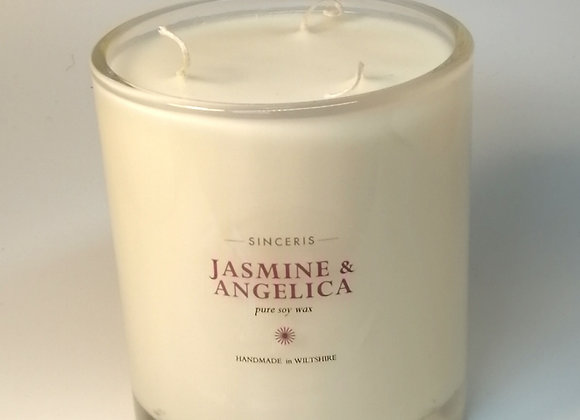 Large Jasmine & Angelica 3 Wick  Soy Candle