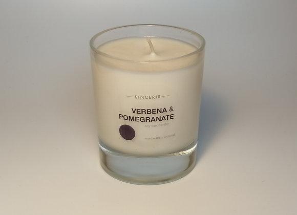 Verbena & Pomegranate Soy Glass Candle