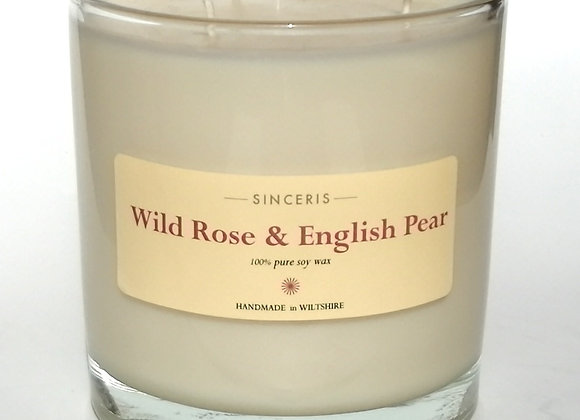 Giant Wild Rose & English Pear 3 Wick Soy Wax Candle