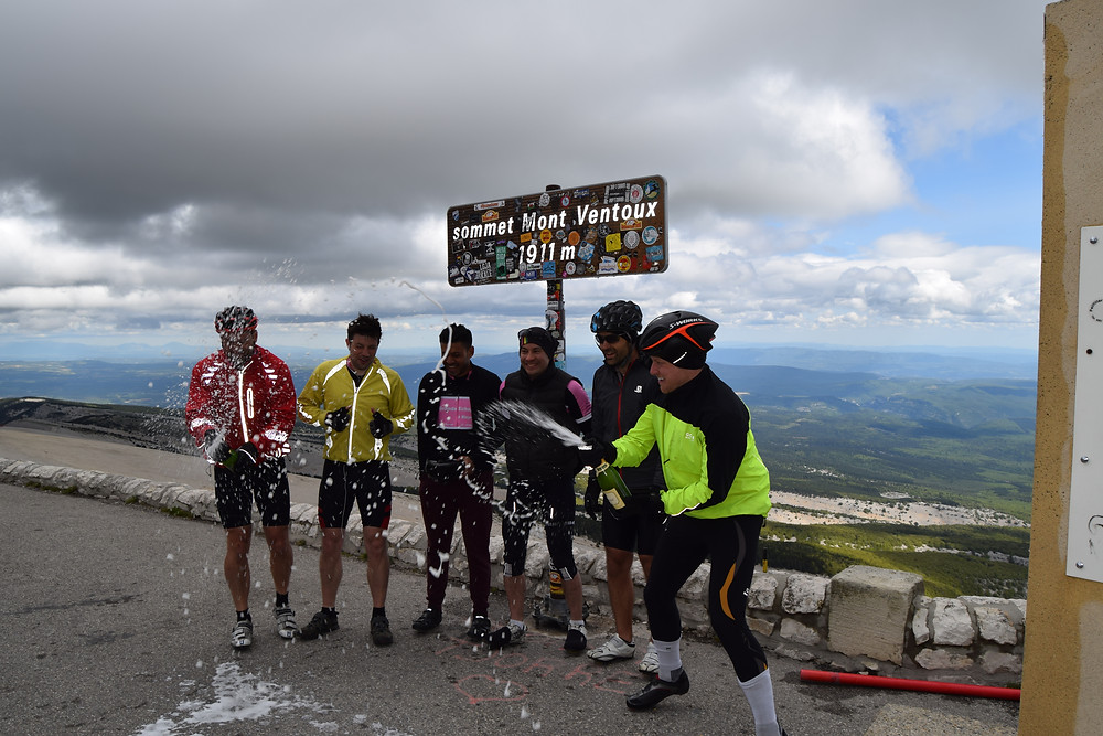 Celebrating at the summit of Mont Ventoux