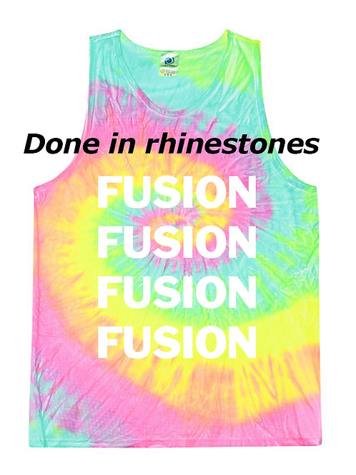 Tie Dye Tank with Rhinestone Lettering