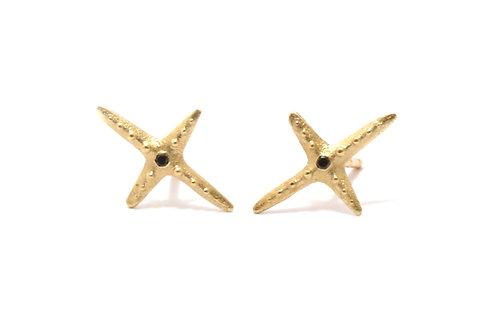 Star X 14k Gold & Black Diamonds