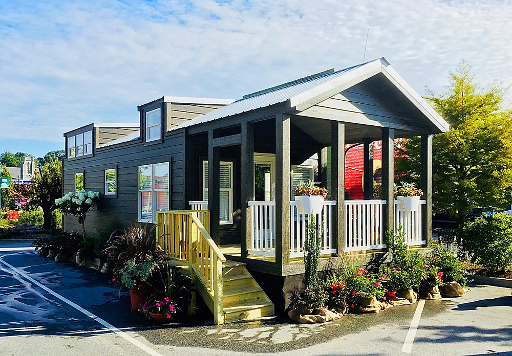 Landscaped Tiny Home at the North Carolina Apple Festival in Hendersonville