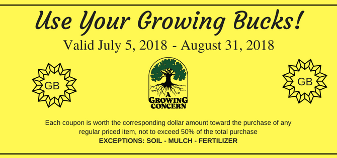 Remember to Use Your Growing Bucks!!