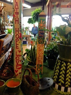 Colorful garden accessories at A Growing Concern garden center in Hendersonville