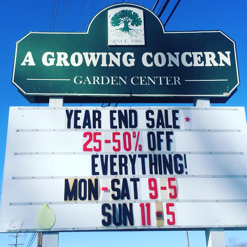 Winter Sale at A Growing Concern Garden Center in Hendersonville