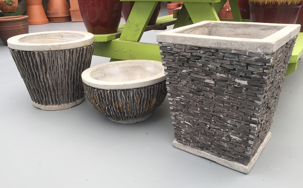 Concrete planters at A Growing Concern Garden Center in Hendersonville, NC