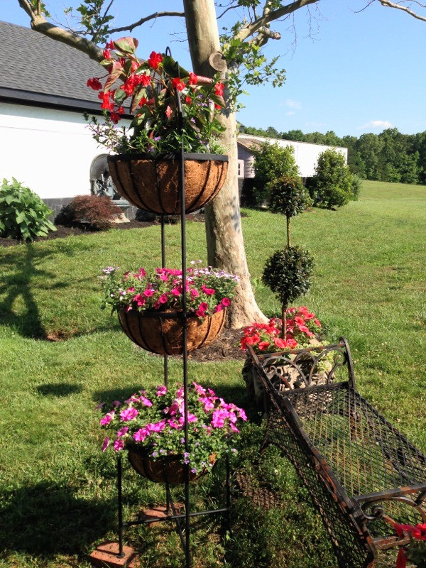 Colorful container gardens by A Growing Concern Landscaping in Hendersonville, NC