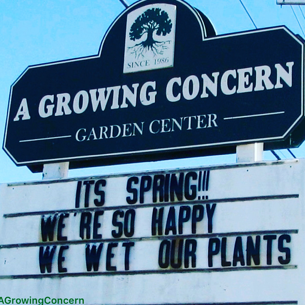Spring sign at A Growing Concern Garden Center in Hendersonville