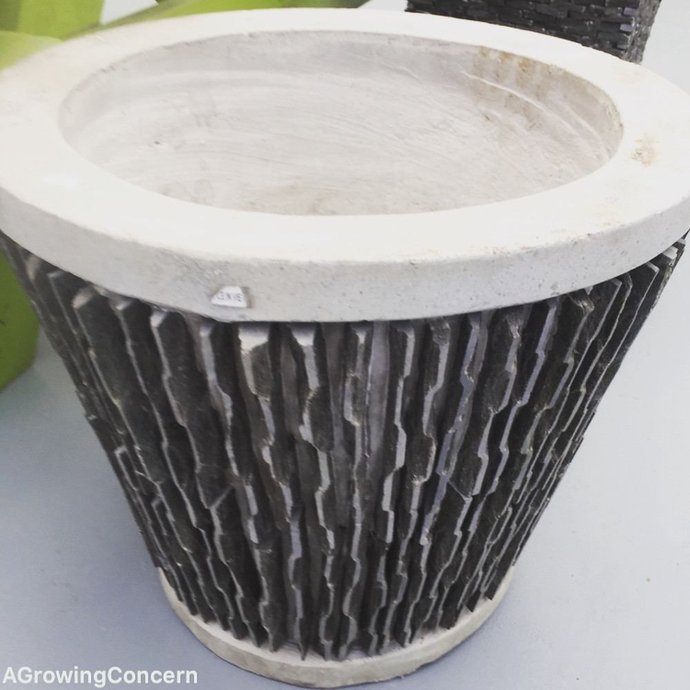 Concrete planter at A Growing Concern Garden Center in Hendersonville, NC