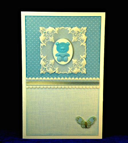 Carte bébé ourson et papillon