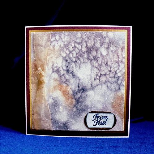 Carte ''Joyeux Noël'' bleu-doré enneigée