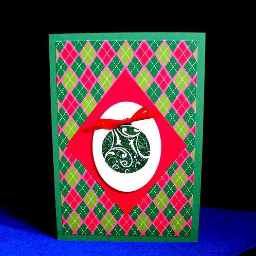 Carte de Noël à carreaux rouges et verts