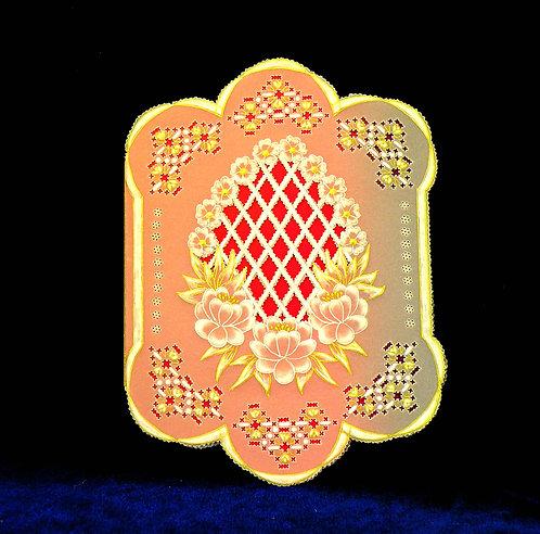 Carte fleurs et grillage - modèle de Pergamano