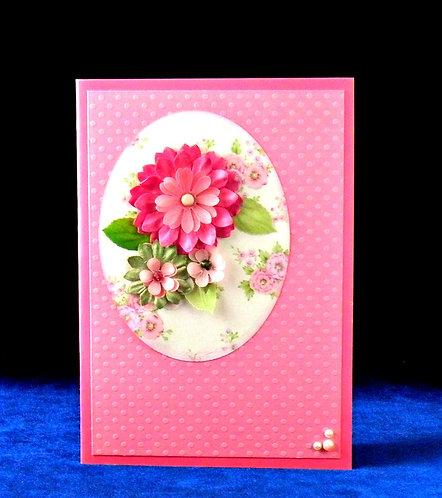 Carte à fleurs roses