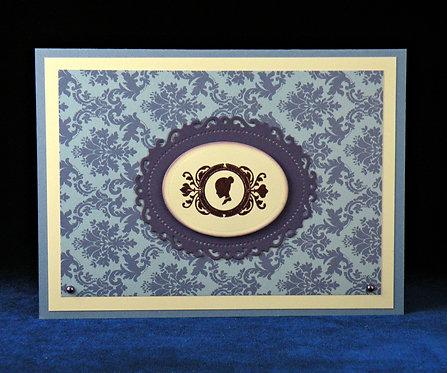Carte ''petite dame'' bleu-violet