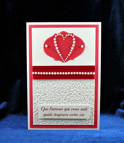 Carte de mariage coeur de perles