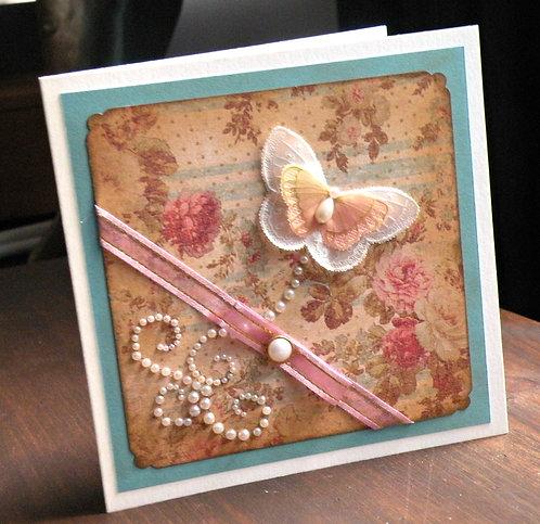 Carte Vintage, Shabby Chic au papillon et ruban
