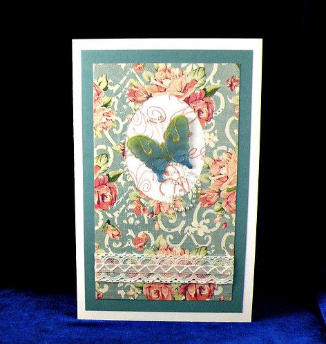 Carte Vintage au papillon bleu-vert