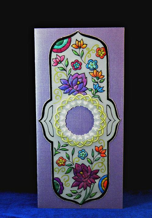 Carte longue à fleurs multicolores - modèle de Pergamano