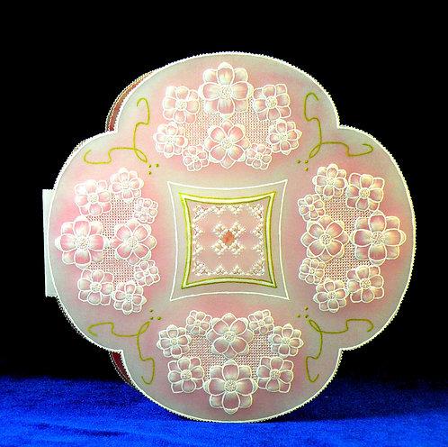 Carte rose tendre à petites fleurs - modèle de Pergamano
