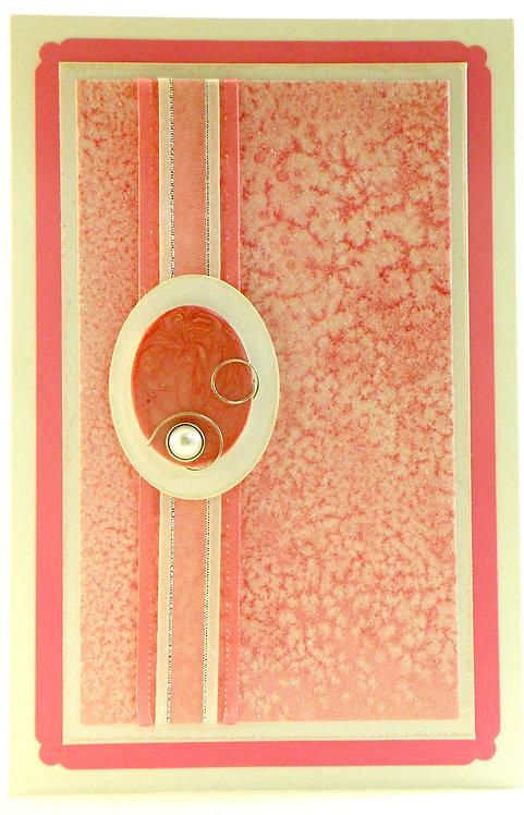 Carte rose avec médaillon