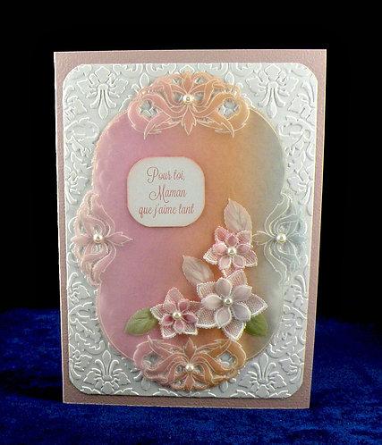 Carte fête des mères avec 3 fleurs (Pergamano)
