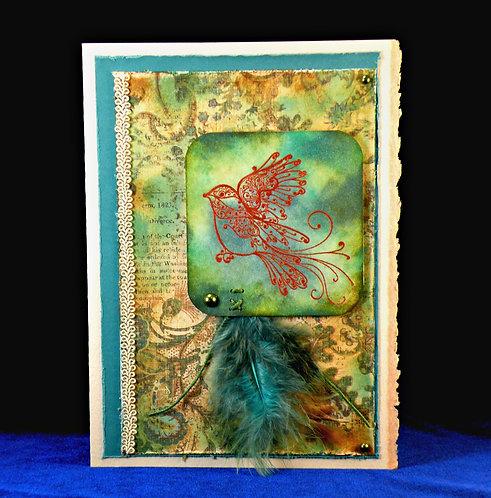 Jolie carte avec oiseau 3D et plumes look Vintage