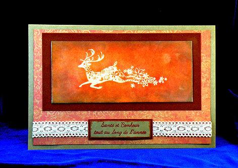 Carte de Noël Vintage avec renne