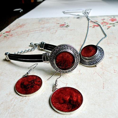 Ensemble collier, bracelet et boucle d'oreilles Aztèque