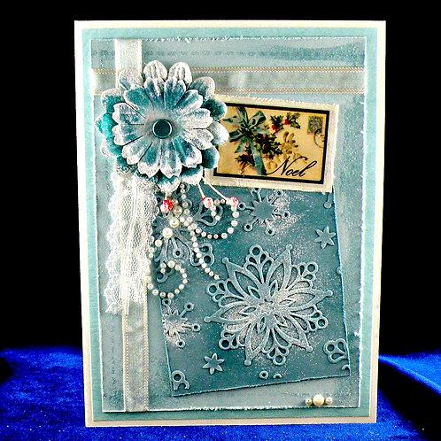 Carte de Noël Shabby Chic bleu turquoise