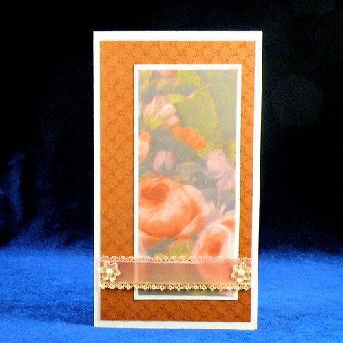 Petite carte florale et bande de dentelle de papier