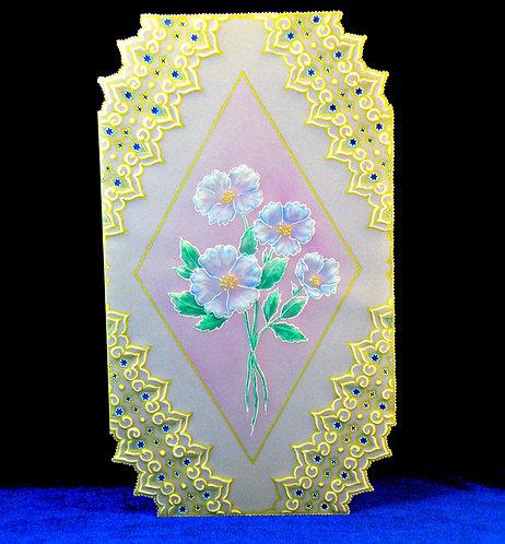Carte à fleurs bleues -modèle de Pergamano