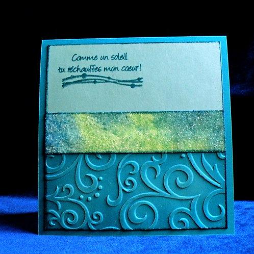 Carte amour/St-Valentin bleu-aqua à motifs gaufrés